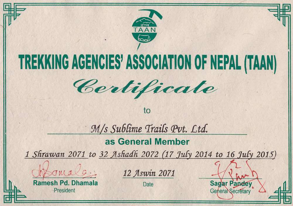 Membership Certificate of Trekking Agencies Association of Nepal