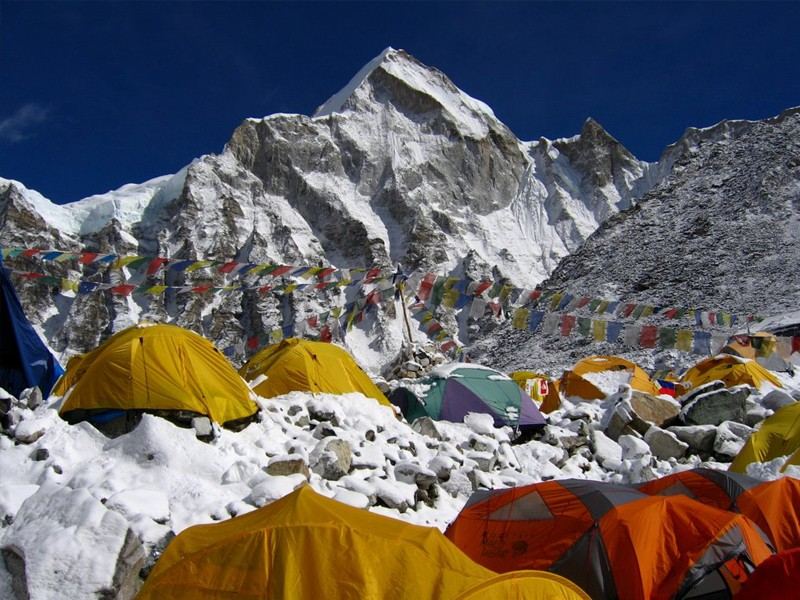camping at everest base camp