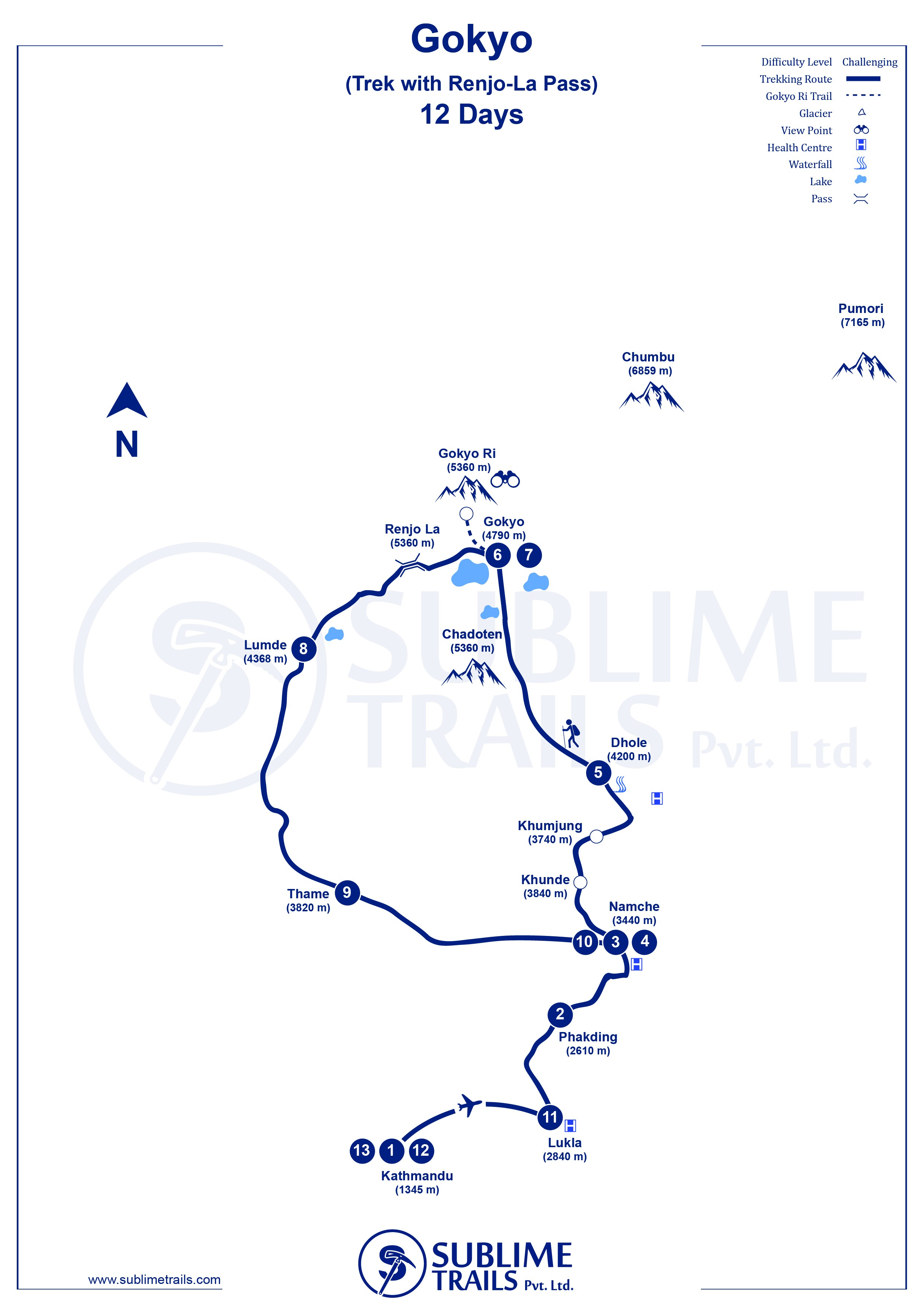 Renjo La Pass with Gokyo Lake Trek map