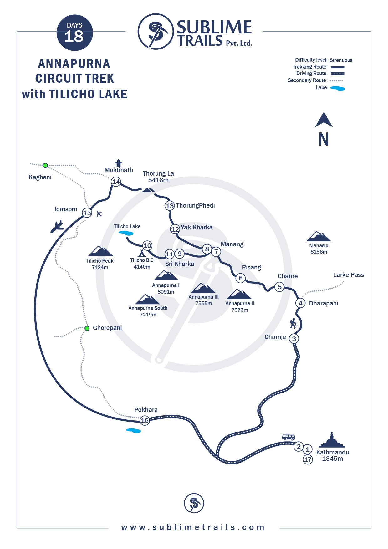 Annapurna Circuit with Tilocho Lake Trek Map